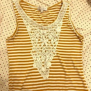Gold and White Tank top with crochet center! OBO